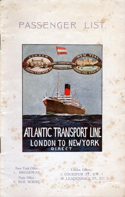 Front Cover, Passenger List, S.S. Minnesota, Atlantic Transport Line, August 1927