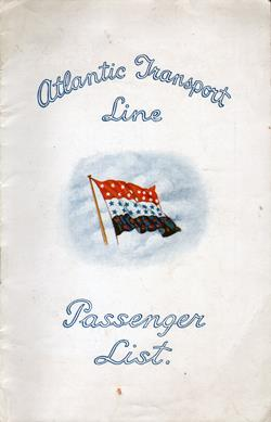 Front Cover, Passenger Manifest, SS Minnesota, Atlantic Transport Line, September 1928
