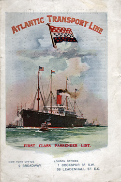Passenger Manifest, Atlantic Transport Line SS Minnetonka, 1914-08-29 London to New York