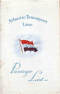 17 December 1927 Passenger List, S.S. Minnetonka, Atlantic Transport Line