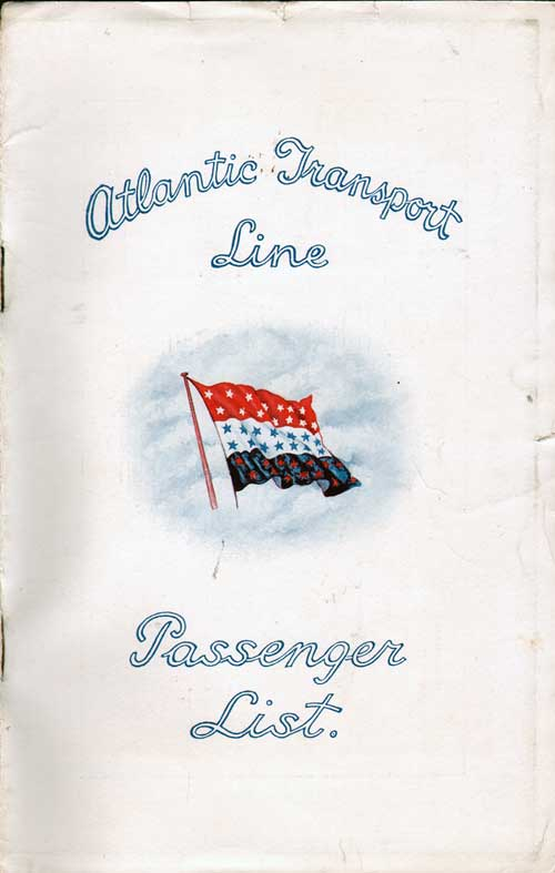 Front Cover - 27 September 1930 Passenger List, SS Minnetonka, Atlantic Transport Line