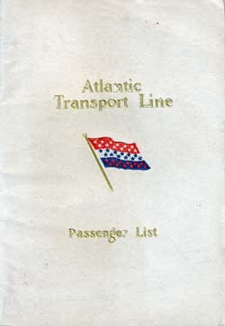 Front Cover - 31 May 1924 Passenger List, S.S. Minnewaska, Atlantic Transport Line