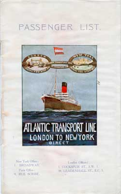 Front Cover - 23 April 1927 Passenger List, S.S. Minnewaska, Atlantic Transport Line