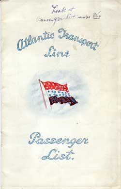 Front Cover - 12 October 1929 Passenger List, S.S. Minnewaska, Atlantic Transport Line