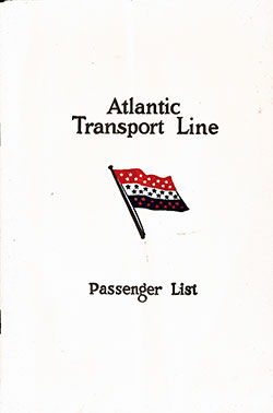 Front Cover, Passenger List, Atlantic Transport Line, S,S, Minnewaska, 2 August 1930