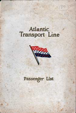 Front Cover - 27 September 1930 Passenger List, S.S. Minnewaska, Atlantic Transport Line