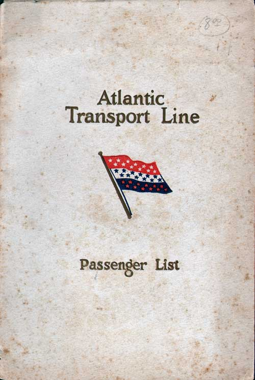 Front Cover - 27 September 1930 Passenger List, SS Minnewaska, Atlantic Transport Line