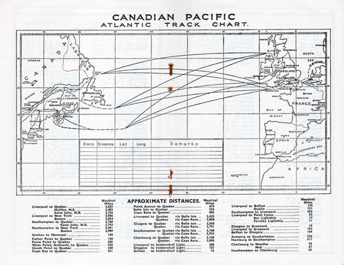 Track Chart - 14 October 1932 Passenger List, SS Duchess of Bedford, Canadian Pacific (CPOS)