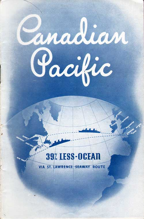 Front Cover - 17 August 1937 Passenger List, S.S. Duchess of Richmond, Canadian Pacific (CPOS)