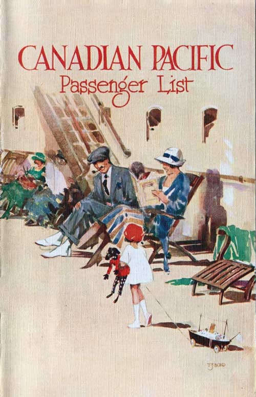 Front Cover - 14 July 1928 Passenger List, SS Empress of Australia, Canadian Pacific (CPOS)