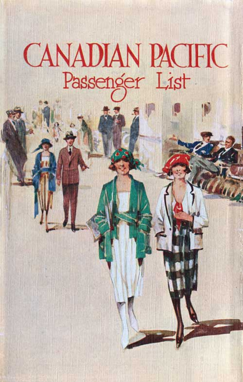 Back Cover - 14 July 1928 Passenger List, SS Empress of Australia, Canadian Pacific (CPOS)