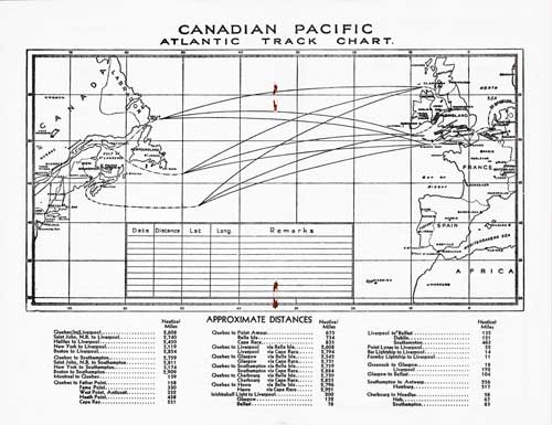 Track Chart, S.S. Empress of Australia Passenger List 16 June 1937