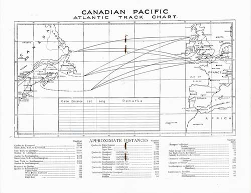 Track Chart - 24 August 1937 Passenger List, SS Empress of Australia, Canadian Pacific (CPOS)