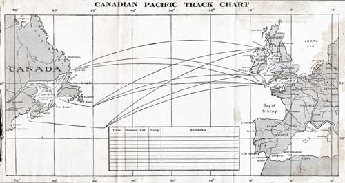 Track Chart - 14 August 1924 Passenger List, S.S. Empress of Scotland, Canadian Pacific (CPOS)