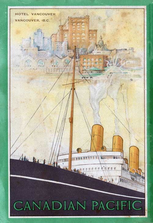Back Cover - 14 August 1924 Passenger List, S.S. Empress of Scotland, Canadian Pacific (CPOS)