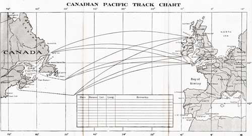 Track Chart - 23 May 1924 Passenger List, S.S. Marloch, Canadian Pacific (CPOS)