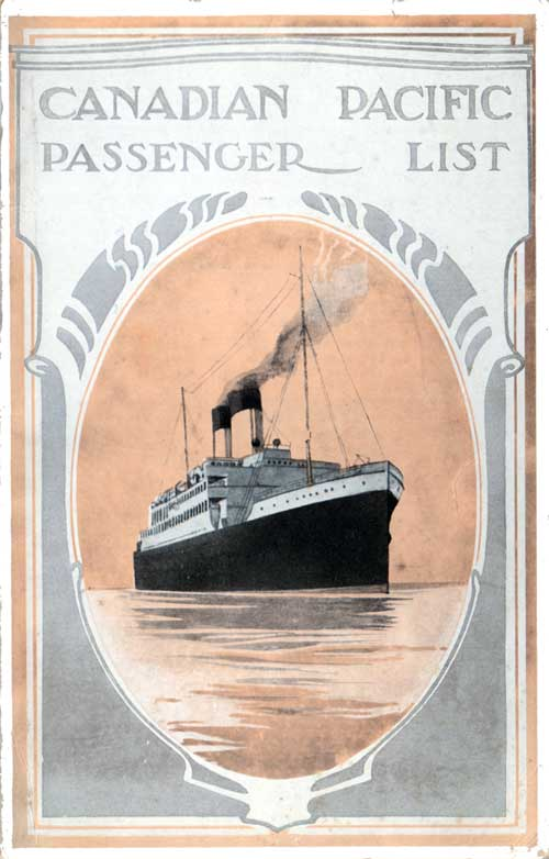 Front Cover - 6 September 1921 Passenger List, S.S. Metagama, Canadian Pacific (CPOS)