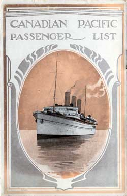 Back Cover - 6 September 1921 Passenger List, S.S. Metagama, Canadian Pacific (CPOS)