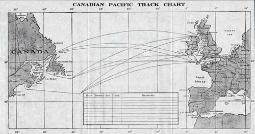 Track Chart - 29 July 1927 Passenger List, S.S. Montclare, Canadian Pacific (CPOS)