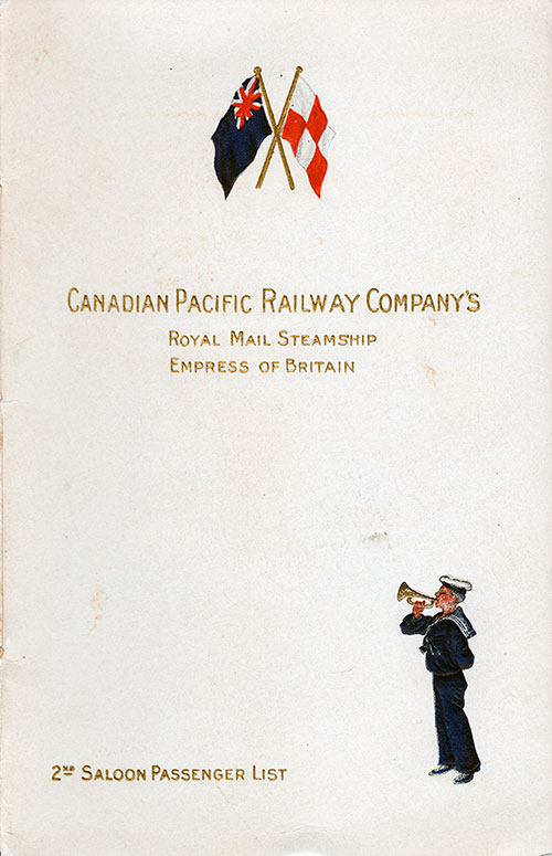 Passenger List, CPR Canadian Pacific Railway R.M.S. Empress of Britain 1908
