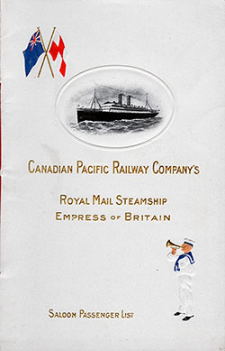 1909-04-09 Passenger List for Empress of Britain