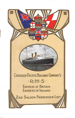 1913-04-18 Ships List for the R.M.S. Empress of Britain