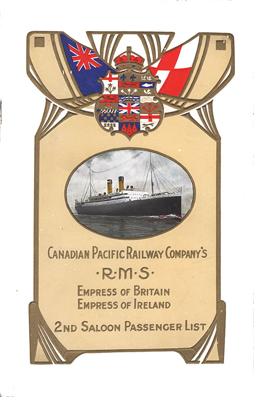 Front Cover, Passenger List, Empres of Britain, 18 April 1913