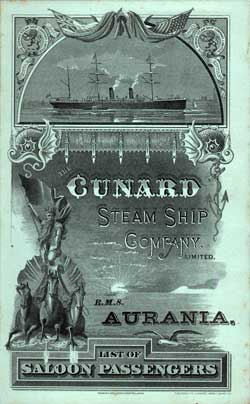 1887-02-26 Passenger Manifest for the S.S. Aurania