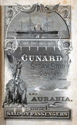 1887-03-26 Ships List for the R.M.S. Aurania