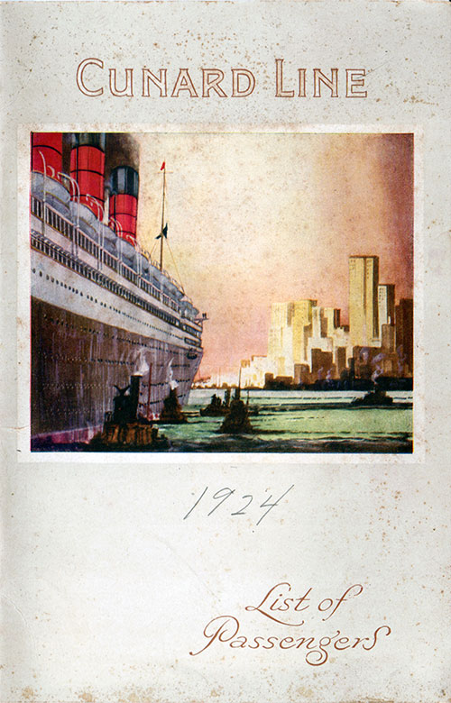 Front Cover, Passenger List, Cunard Line, R.M.S. Berengaria, 24th May 1924