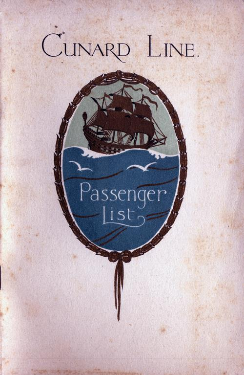 Front Cover - 26 July 1930 Passenger List, R.M.S. Berengaria, Cunard Line