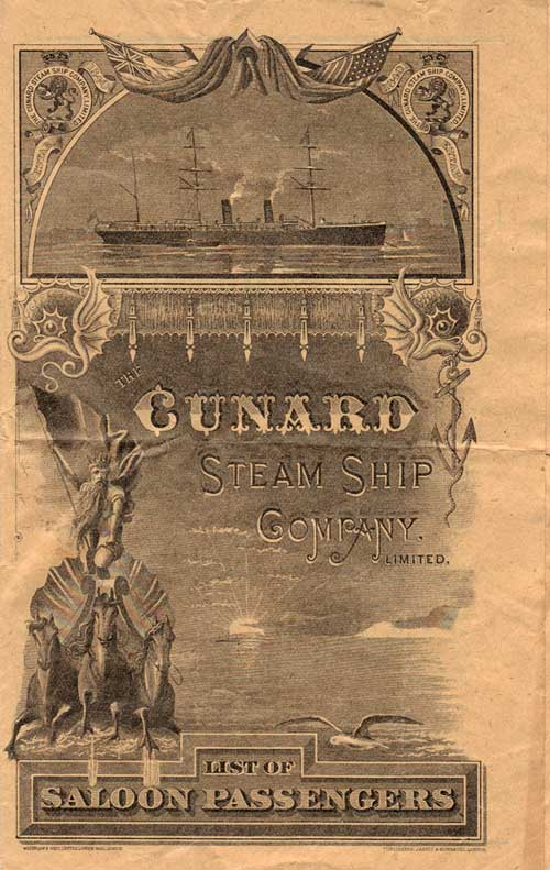 Front Cover - 31 August 1895 Passenger List, RMS Campania, Cunard Line