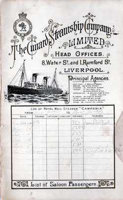 Passenger Manifest, October 1895 Ships List for the Cunard Steamship Campania
