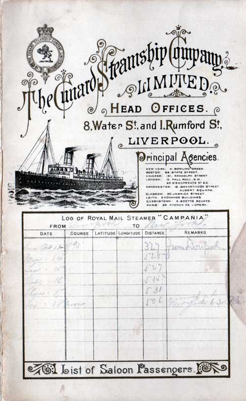 Passenger List, October 1895 Ships List for the Cunard Steamship Campania