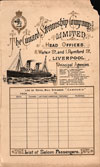 Front Cover - 1898-09-03 Passenger Manifest for the R.M.S. Campania