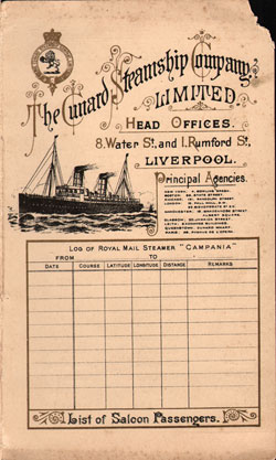 Front Cover of Passenger List, R.M.S. Campania, Cunard Line, September 1898, Liverpool to New York