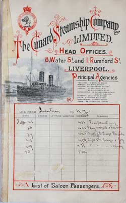 1899-09-23 Ships List for the R.M.S. Campania