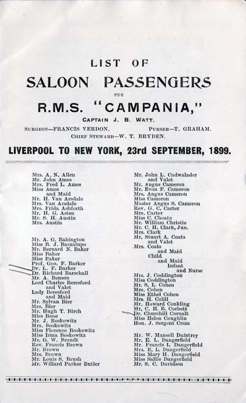 Saloon passengers are among the wealthiest and most connected people.