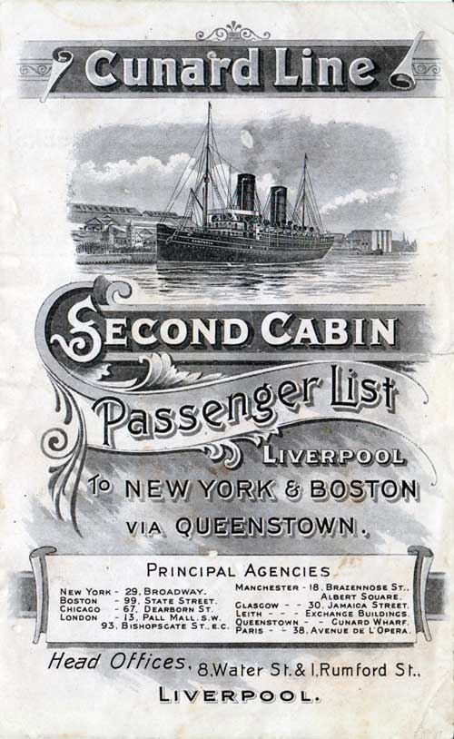 Passenger List, Cunard Line S.S. Campania, 1901, Liverpool to New York