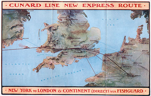 Map of Express Route, America to London and the Continent via Fishguard, which is Recognized as the Most Expeditious Route.