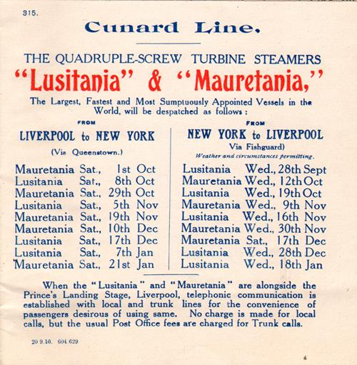 Sailings for Lusitania and Mauretania