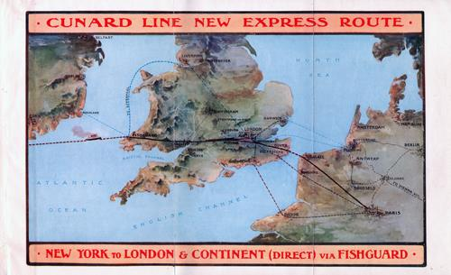 Large Format Map of the Cunard Line New Fishguard Express Route