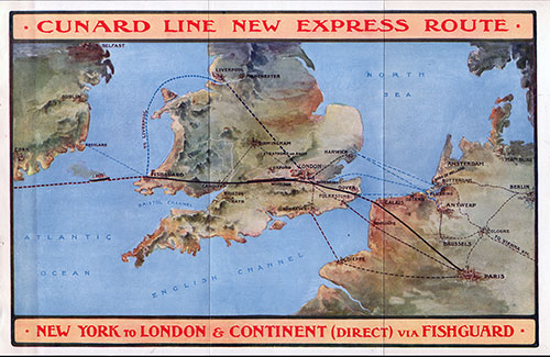 Map of Express Route - New York to London & Continent (Direct) via Fishguard