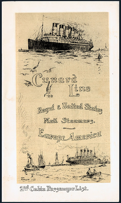 Front Cover - Passenger List, Cunard Line, RMS Caronia, 30 March 1912