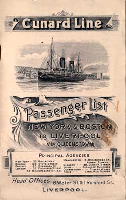 1904-10-04 Ships List for the RMS Carpathia