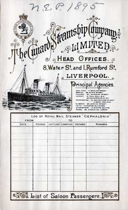 Cunard Line Saloon Passenger Manifest for the RMS Cephalonia 1895