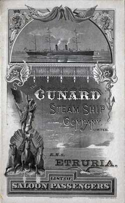 Passenger Manifest, Steamer Etruria from the Cunard Line 1886