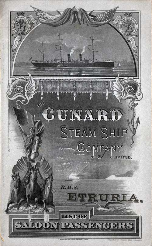 Passenger List, Steamer Etruria from the Cunard Line 1886