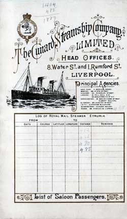 1898-08-27 Ships List for the R.M.S. Etruria