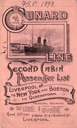 Second Cabin Passenger List, Cunard R.M.S. Etruria August 1898